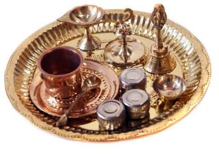 Puja-Set - 11 teilig aus Messing und Kupfer