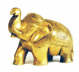 Baby Elefant aus Messing 9,5 cm hoch - Unikat