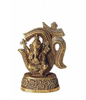 Ganesha Murti mit OM ~ 7 cm, Messing geschwärzt