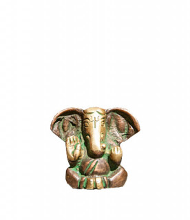Ganesha Murti ~ 3 cm, Messing Patina Look