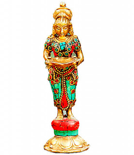 Deepa Lakshmi Murti ~ 14 cm, Messing, Korallen, Türkise