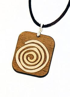 Linksdrehende Spirale, 31x36mm,aus 4mm Ahornholz gelasert