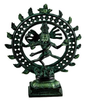Shiva Nataraj Murti ~ 16 cm, Messing Patina Look