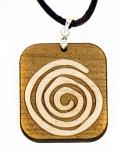 Rechtsdrehende Spirale, 31x36mm, aus 4 mm Ahornholz gelasert.